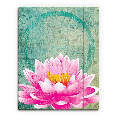 Lotus Grunge - Distressed Peaceful Ohm Circle on Green Wall Art Print on Wood