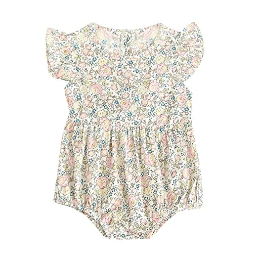 f9f531fdb93 Baulody Newborn Baby Girls Floral Print Backless Romper Infant Kids Jumpsuit  Outfit Playsuit Clothes (0
