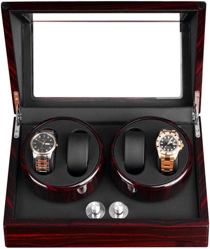 WCX Caja Giratoria para 4 Relojes Automatico Estuche Bobinadora Madera + Acabado Piano + Motor Mudo Japonés (Color : E): Amazon.es: Hogar
