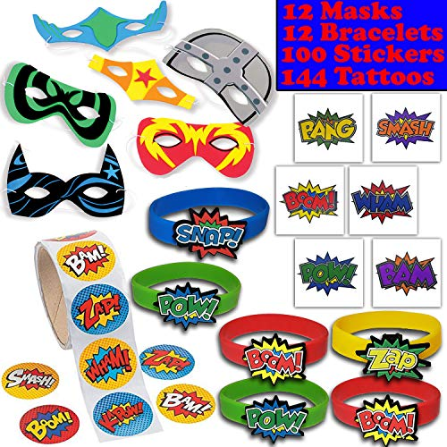 (Superhero Party Favors - 12 masks, 12 Bracelets, 100 Stickers, 144 Tattoos - Perfect for Pinata Fillers, Loot bags, Handouts, Prizes and More)