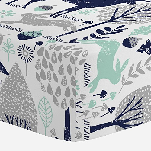 Design Mint - Carousel Designs Navy and Mint Woodland Animals Crib Sheet - Organic 100% Cotton Fitted Crib Sheet - Made in the USA