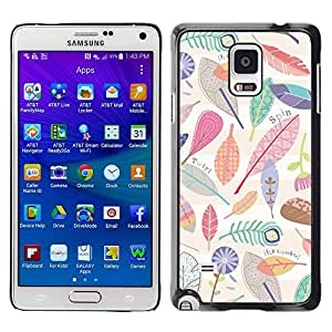 Caucho caso de Shell duro de la cubierta de accesorios de protección BY RAYDREAMMM - Samsung Galaxy Note 4 SM-N910 - Leaves Nature Pattern Clean