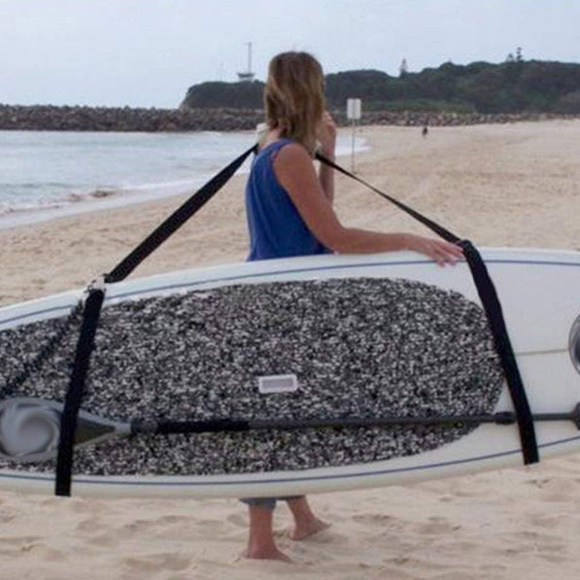 Sunnyflowk Correa para el Hombro de la Tabla de Surf Pr/ácticos Accesorios para la Tabla de Surf Carling Sling Ajustable Stand Up Surfing Surf Paddle Board Carrier Negro