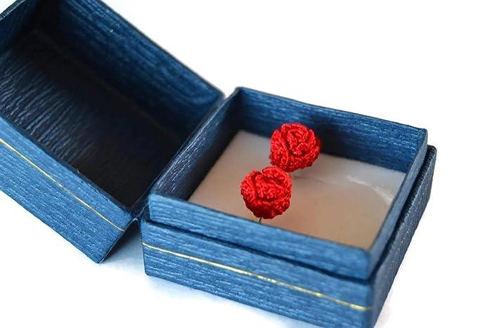 Rote Ohrringe Rose Stud Schmuck Geschenk Für Ihre Handgefertigte