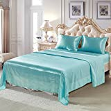 Joyful Store Luxury Soft Satin Silk Bed Sheet Set Hotel Quality Solid Color Bedding Set Silky Bed Flat Sheet Fitted Sheet Pillow Case (Cyan, Twin(2pcs/set))