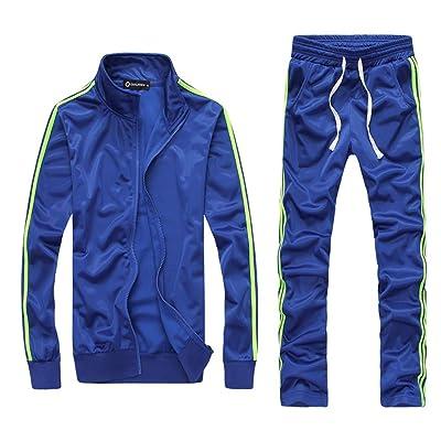 Men 2 Piece Tracksuit Set - Full Zip Athletic Sweatsuit Outfit Jogger Sport Set at Men's Clothing store