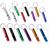 shiguang 6 PCs of Extra Loud Aluminium Safety Whistles, Life-Saving Whistle Outdoor Emergency and Survival Whistle, for Hikin