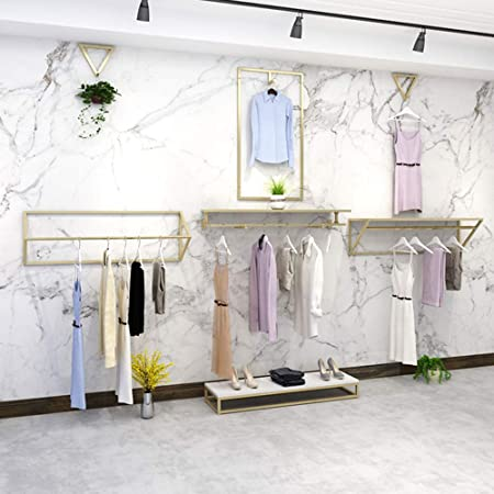 Combinación de expositores de ropa montados en la pared, bastidores de bastidores laterales para tiendas de ropa, bastidores de expositores para tubos industriales, adecuados para hogares, tiendas d: Amazon.es: Hogar
