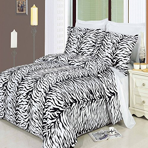 (Luxury Zebra 3-PC Black with White 300 Thread Count King/Cal king Duvet Cover Set 100 % Cotton comforter cover set with matching pillow shams By sheetsnthings)