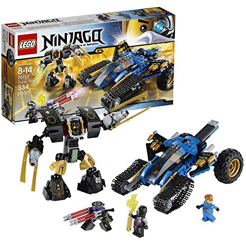 Lego Year 2014 Ninjago Series 10 Inch Long Vehicle Set #70723 - THUNDER RAIDER with Cockpit, Hidden Missiles, Front Tank Treads, Rear Off-Road Wheels and Earth Mech Plus Cole, Jay and a Nindroid Minifigures (Total Pieces: 334)