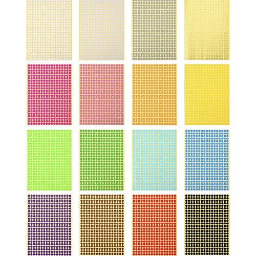 Outus Color Coding Labels Dot Stickers Round Circle Stickers, 16 Sheets, 6528 Pieces in Total