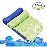 [2 Pack] Cooling Towel for Instant Cooling Relief, Lionsoul Microfiber Cooling Towel for Sports, Workout, Fitness, Camping, Yoga, Golf, Bowling, Travel, Large 40'' x 12''