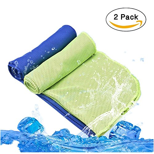 [2 Pack] Cooling Towel for Instant Cooling Relief, Lionsoul Microfiber Cooling Towel for Sports, Workout, Fitness, Camping, Yoga, Golf, Bowling, Travel, Large 40'' x 12'' by Lionsoul