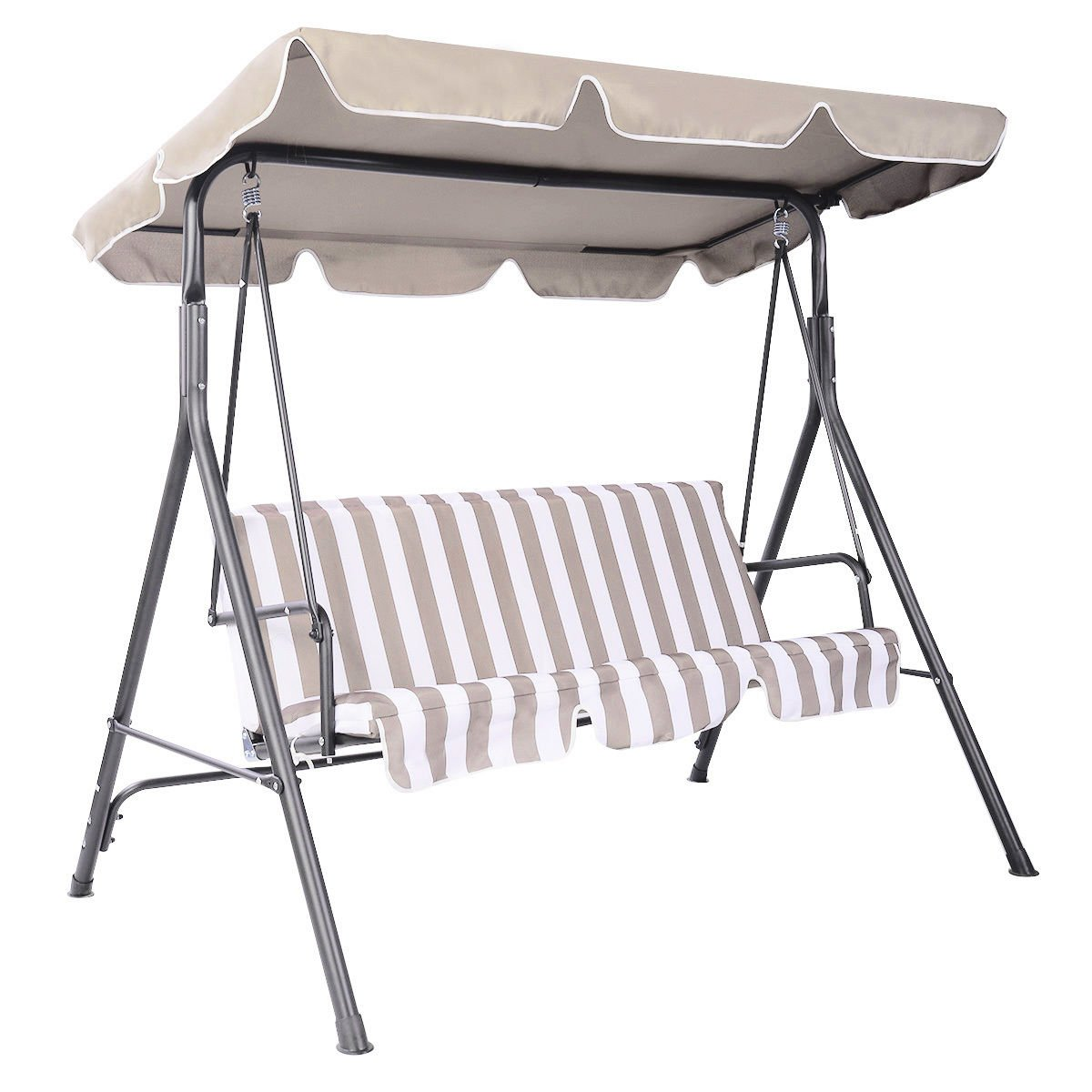 TANGKULA Swing Top Cover Canopy for Bench Replacement Outdoor Patio 66''x45'' 75''x52'' 77''x43'' (Beige, 75'' 52'')