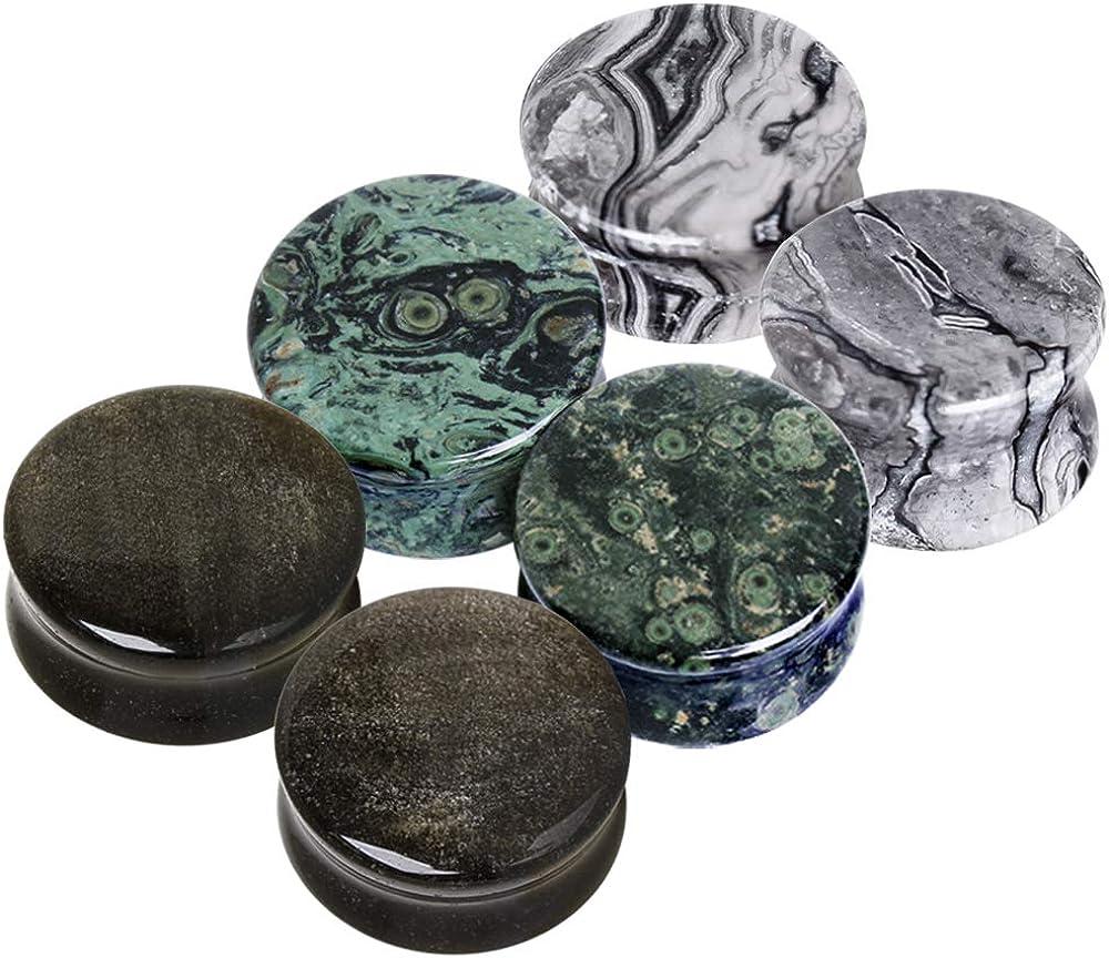 Cocobul Set of 3 of Natural Amethyst Green Jasper Obsidian Stone Saddle Plugs