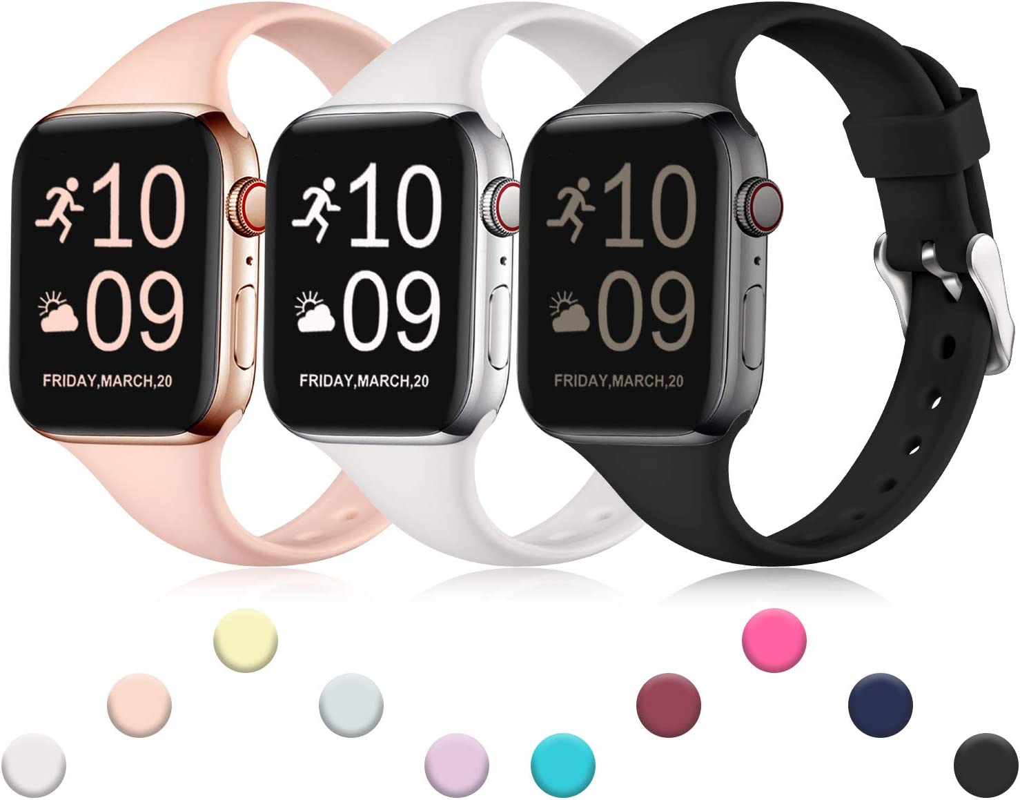 Henva Band Compatible with iWatch 40mm 38mm, Waterproof Soft Slim Band Compatible for Apple Watch SE Series 6/5/4/3/2/1, 3 Pack, Pink/White/Black, S/M