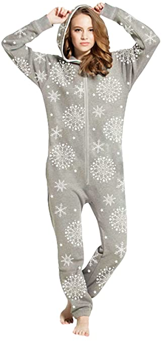 Grey Christmas Snowflakes Winter Womens Fleece Onesie One Piece Pajama  Jumpsuit Snow Flake Gray S 9041390b3