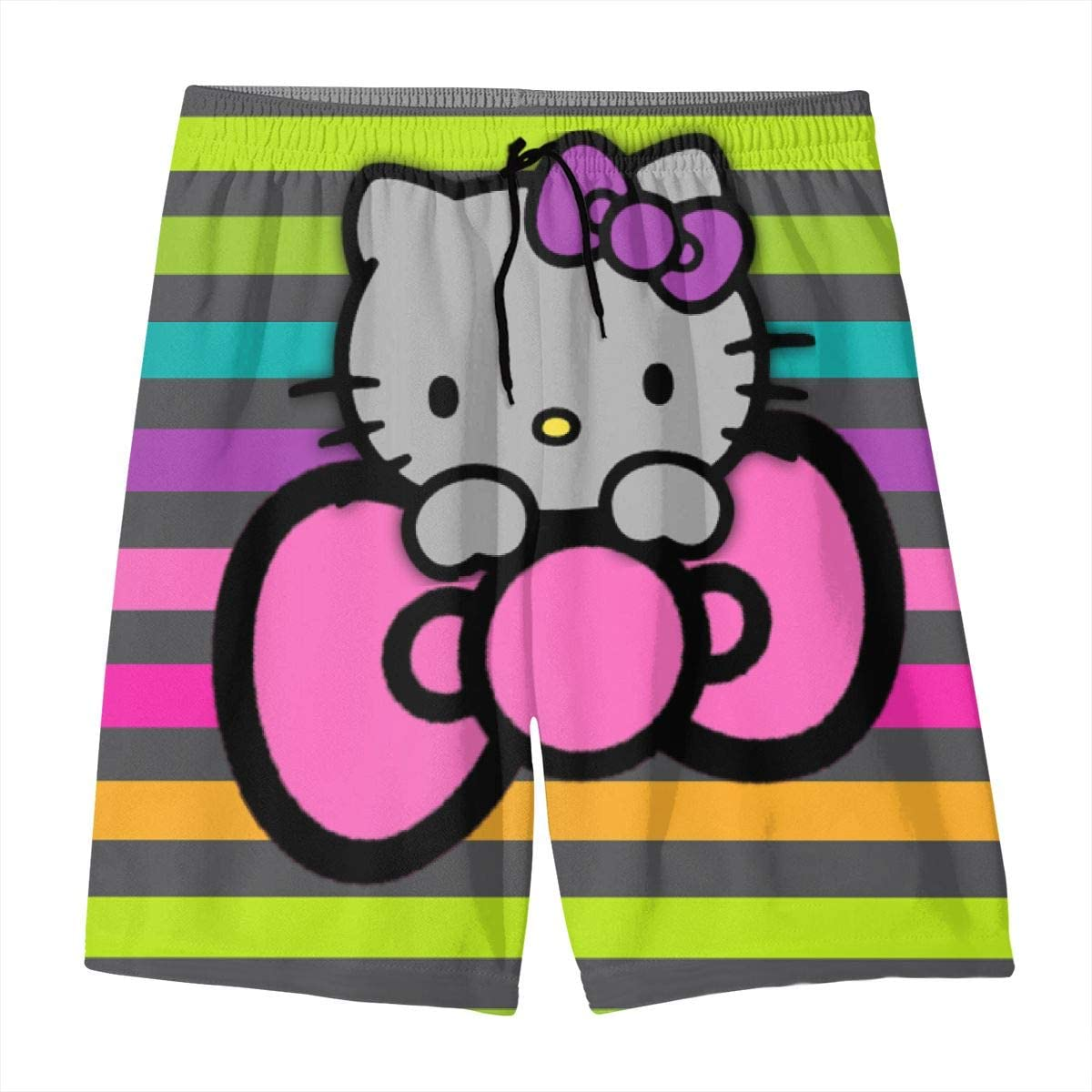 Swim Trunks Rainbow Hello Kitty Quick Dry Beach Board Shorts Bathing Suit with Side Pockets for Teen Boys
