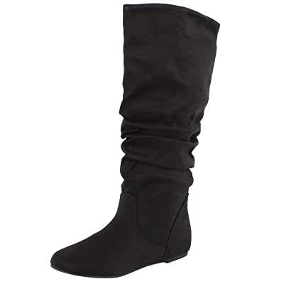 SODA Women's Zuluu Slouchy Faux Leather Knee HIgh Flats Boots | Mid-Calf