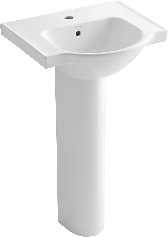 Kohler K 5265 1 0 Veer Pedestal Bathroom Sink With Single Faucet Hole 21 Inch White Amazon Com