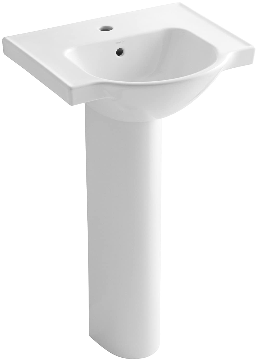 KOHLER K-5265-1-0 Veer Pedestal Bathroom Sink with Single Faucet ...