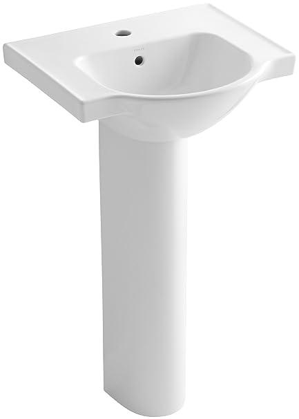 KOHLER K 5265 1 0 Veer Pedestal Bathroom Sink With Single Faucet Hole
