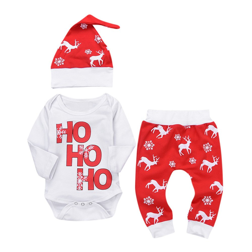 3Pcs Newborn Baby Boy Girl Christmas Print Tops+Pant+Cap Outfits Clothes Set Infant Gift Family Pajamas Sleepwear Warm Winter Clothes