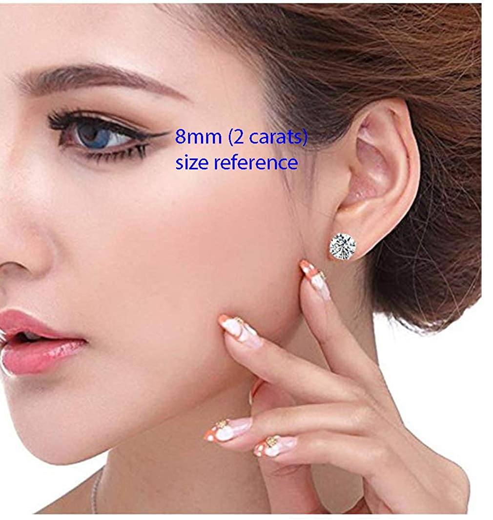 5 Pairs Gold Plated Sterling Silver Simulated Diamond Earrings Earring Studs with Ear Nuts Clutch Backs Anniversary Birthday Mothers Women Girls Gifts