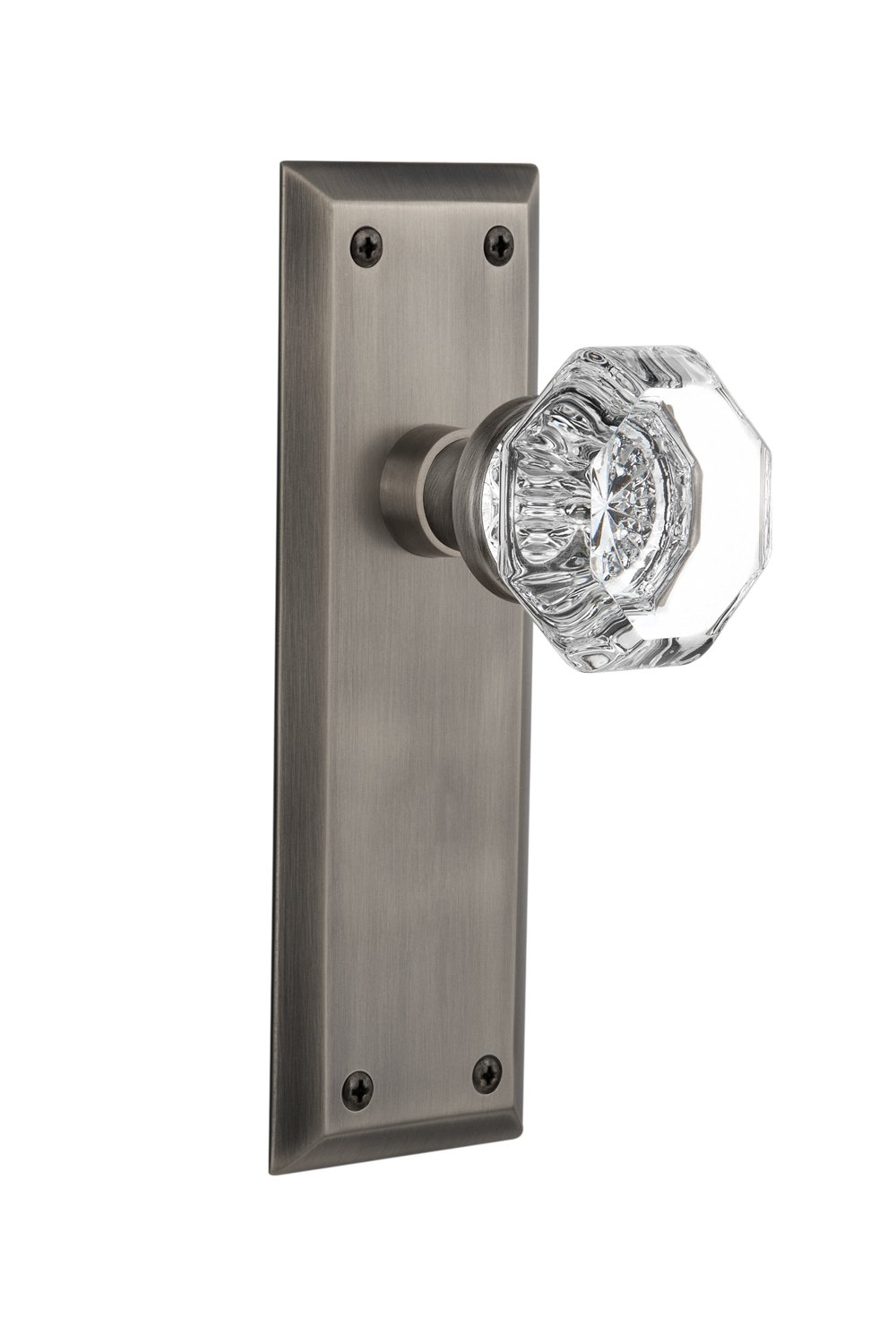 Oil-Rubbed Bronze Privacy Nostalgic Warehouse New York Plate with Waldorf Crystal Knob 2.75