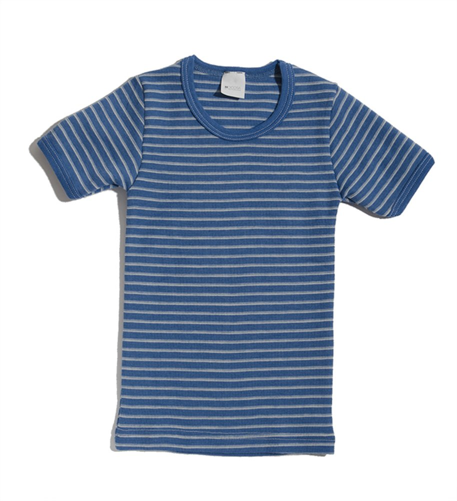 Hocosa of Switzerland Little Kids Organic Wool Short-Sleeved Undershirt, Blue/White Stripe, s.92/2 yr by Hocosa of Switzerland