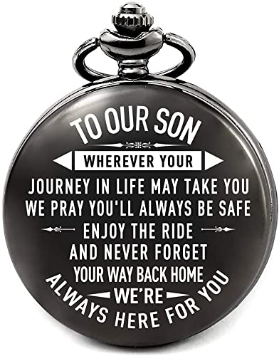 Amazon Com Son Gifts From Mom And Dad For Wedding Son Birthday Gifts Ideas Fathers Day Gifts For Son Christmas Gifts For Teen Boys Engraved Pocket Watch For Son To Our Son Watches