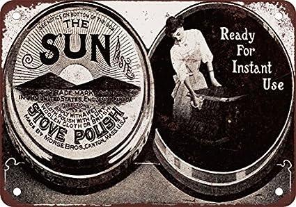 1908 sol pasta estufa polaco reproducción de aspecto Vintage Metal Signs 12 x 16 pulgadas
