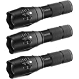 [3 PACK] Handheld LED Flashlight, OUYOOOO Camp Flashligt Torch with Adjustable Focus and 5 Light Modes for Outdoors, Camping, Hiking, Emergency, Power Outages or Gift-Giving