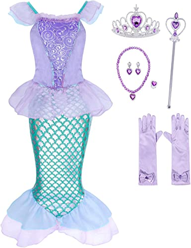 ReliBeauty Girls Mermaid Costume Ruffled Sleeve Dress