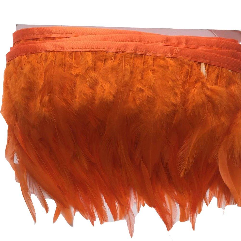 Black KOLIGHT Pack of 2 Yards Natural Rooster Hackle Feather Trim Fringe 4-6 in Width DIY Decoration