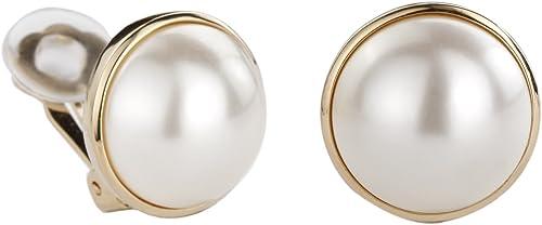 Traveller® Schmuck Ohrring Ohrclip mit Crystals from Swarovski® Clip 22kt vergoldet oder rhodiniert Perle Ø ca. 16mm