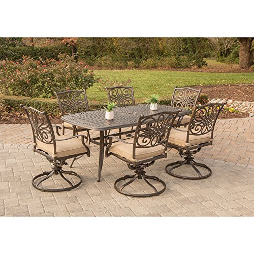 Hanover TRADITIONS7PCSW-6 Traditions 7 Piece Dining Set with Six Swivel Chairs & A Large 72 x 38 Table Outdoor Furniture, Bronze Frame, Tan