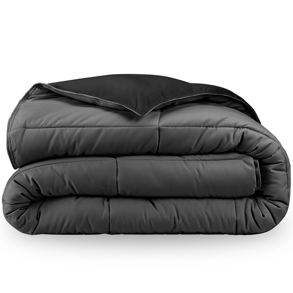 Bare Home Ultra-Soft Premium 1800 Series Goose Down Alternative Reversible Comforter - Hypoallergenic - All Season - Plush Fiberfill (Full/Queen, Black/Grey)