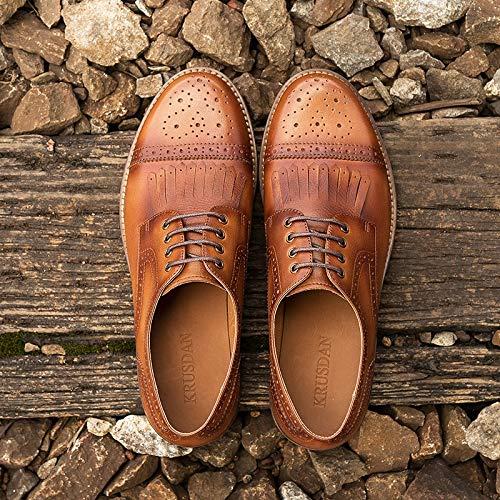 Ruanyi Echtes Leder Schuhe Oxfords Lace up Quaste Bullock Oxfords Schuhe Männlichen Retro Lederschuhe Casual Oxford Schuhe Für Männer (Farbe : Braun, Größe : 44 EU) Brass 9ce6b9
