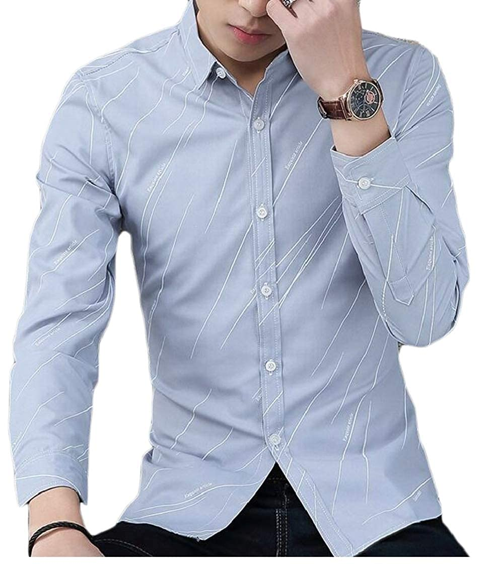 Etecredpow Mens Striped Thicken Casual Long Sleeve Button Down Lapel Shirts