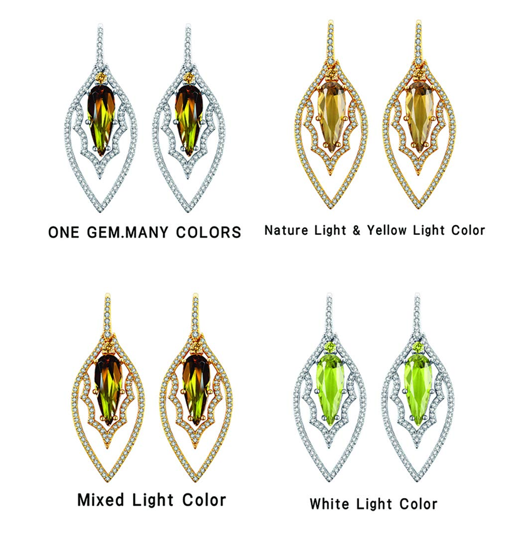 Tingle Alexandrite Earrings Sterling Silver Fine Jewelry Color Change Gemstone Teartrop Gothic Earrings Silver Earrings for Women (Rhodium Plated Earrings) by Tingle (Image #4)