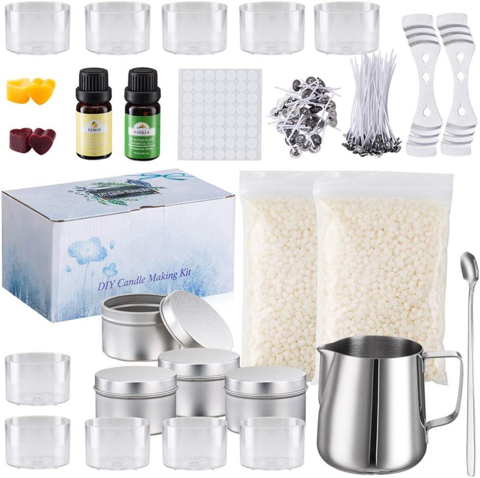 Supvox Kit de Fabricaci/ón de Velas de Bricolaje Cera Perfumada de Aceite Esencial Juego de Fabricaci/ón de Velas Jarra de Vertido de Velas Mechas Pegatina Velas de Soja para Adultos