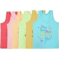 Careplus Sleeveless Printed Multi-Coloured Top for Girl's (Pack of 6)