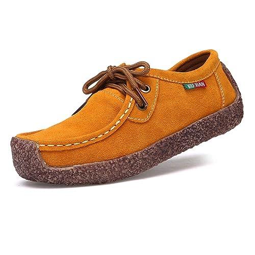 Daytwork Mujer Mocasines Cuero Conducción Mocasines - Cómodo Slip-On Pisos Bote Zapatos Damas con Cordones Chica Sdriver Tobillo Bombas: Amazon.es: Zapatos ...