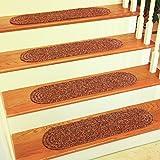 "RRI Home Décor Sabrina Tweed Stair Treads Rug, 8x28"", Sangria, Set of 4"