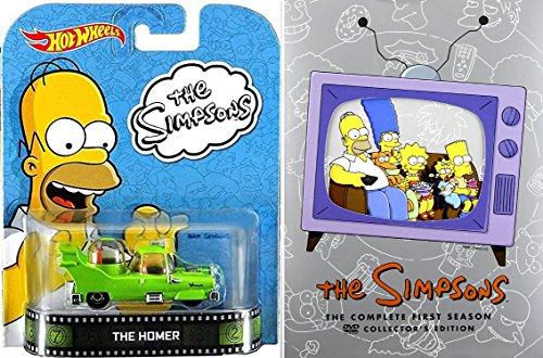 The Simpsons: Season 1 DVD Set & The Homer Simpsons Car Set - Retro Entertainment Hot Wheels 13 Cartoon TV Episodes