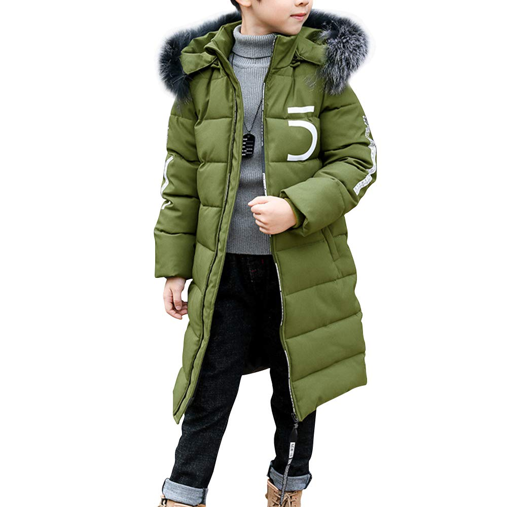 Phorecys Boys Parka Coats Winter Warm Quilted Padded Outerwear Thicken Jacket with Hood