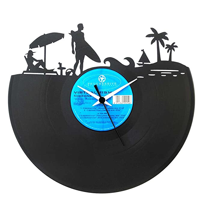 Amazon.com: Surf Summer Sea Gift idea Surfer Vinyl clock Wall clock Black Color Vinyluse original Made In Italy: Home & Kitchen
