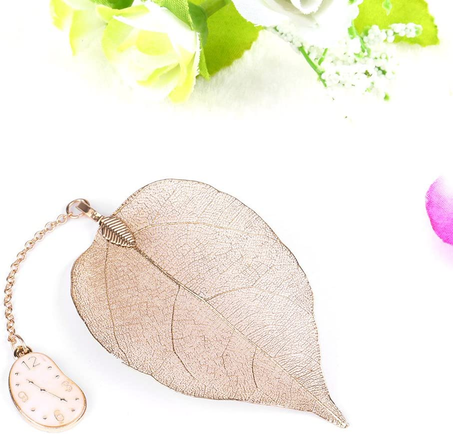 Gold Metal Leaf Bookmark with Alice//Rabbit//Clock Pendant for Book Paper Reading Clock