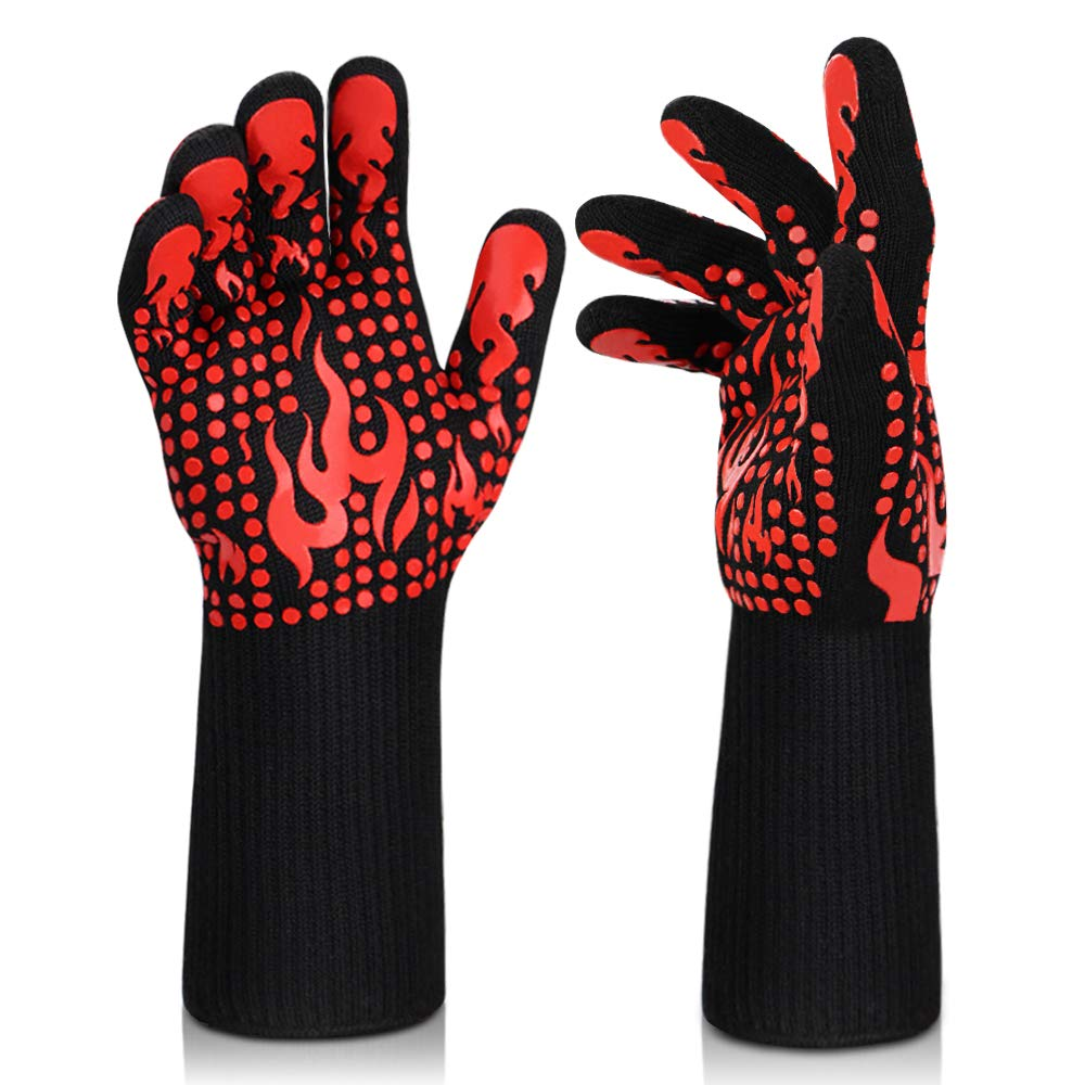 Grilling Gloves, 1472°F Heat Resistant BBQ Gloves Silicone Non-Slip Kitchen Oven Gloves Long Kitchen Gloves for Barbecue, Cooking, Baking, Welding, Cutting (Red)